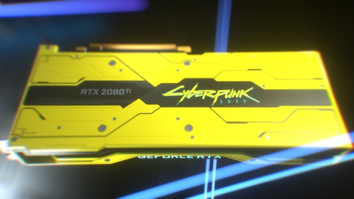 The very yellow back of the RTX 2080Ti Cyberpunk 2077 Edition