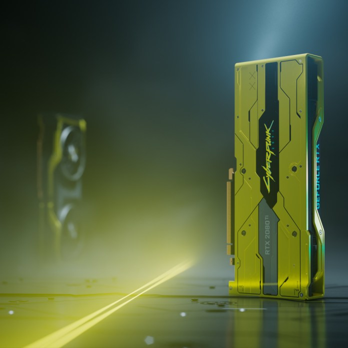 An artistic render of two RTX 2080Ti Cyberpunk 2077 Editions looming like towers
