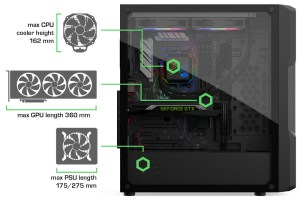 Annotated image showing clearances on the SilentiumPC Astrum AT6V series cases