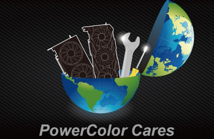 Image of GPUs and spanners inside a globe, with the text 'PowerColor Cares' in relation to the covid induced warranty extension.