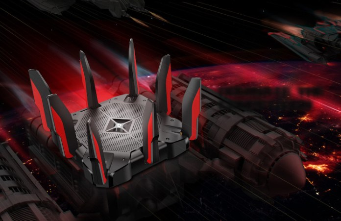 The TP-Link Archer AX11000 on a background of spaceships, underlining the angular scifi design