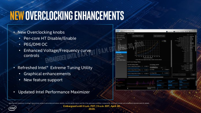 The overclocking enhancements for the i9-10900K and desktop comet lake in general. In addition to the following text there's enhanced V/f curve controls, a refreshed XTU, and updated intel performance maximizer.