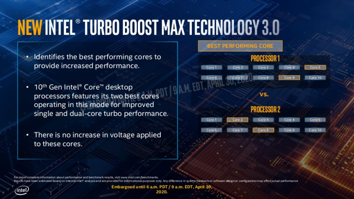 Turbo boost max 3.0 for Intel 10th gen desktop comet lake. The image shows how the best cores are different for different processors.