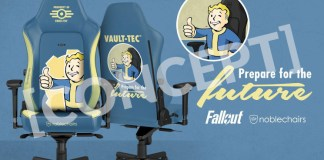A gaming chair in fallout blue with yellow highlights, and fallout artwork.