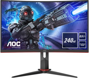 The AOC C27G2ZE/BK from the front, showing very slim bezels. Info boxes announce the 240Hz refresh rate, 0.5ms response time and Freesync Premium support.