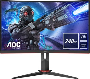 The AOC C32G2ZE/BK from the front, showing very slim bezels. Info boxes announce the 240Hz refresh rate, 1ms response time and Freesync Premium support.