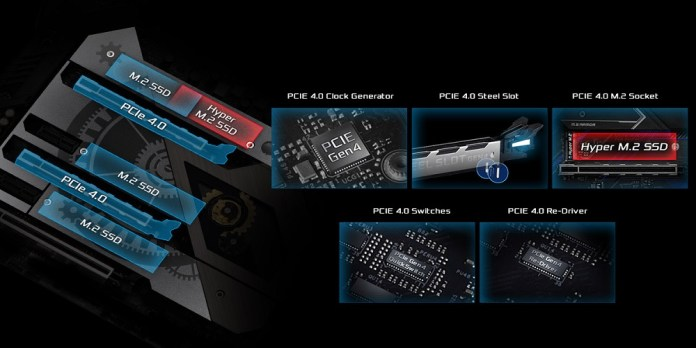 ASRock PCIe 4.0 features on Z490 and H470 boards for Intel Comet Lake. Image highlights a PCIe 4.0 clock generator, PCIe 4.0 steel slots, a PCIe 4.0 M.2 socket, PCIe 4.0 switches and PCIe 4.0 re-drivers.