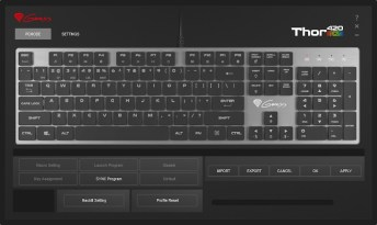"""The default """"PCMODE"""" scereen for the Genesis Thor 420 RGB software, with key customisation options greyed out."""