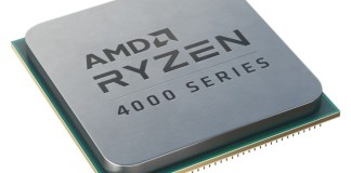 "amd desktop renoir cpu render, with 'AMD RYZEN 4000 SERIES"" written on the IHS"