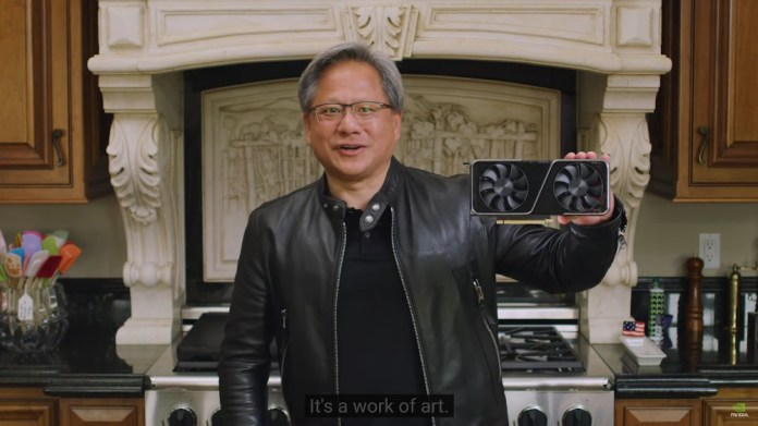 """JHH holding an RTX 3070 while saying """"It's a work of art"""""""