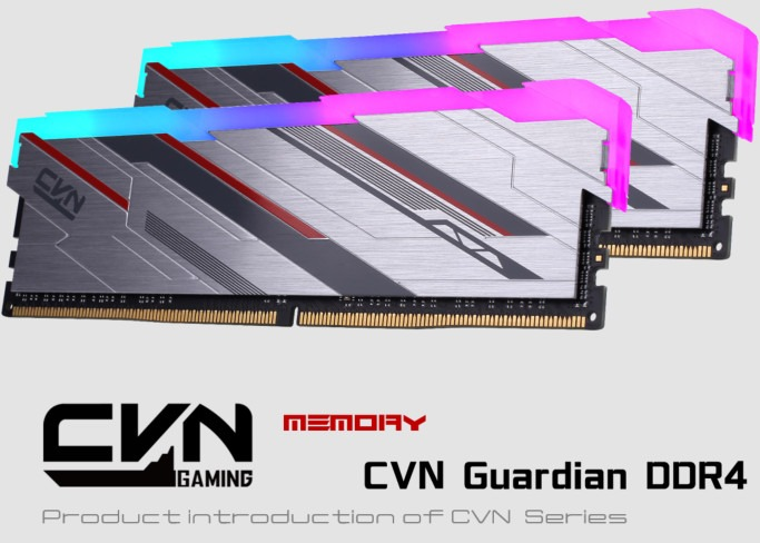 "Colorful CVN Guardian memory with a brushed aluminium heatspreader and plastic RGB diffuser. Text on the image says CVN Gaming, Memory, CVN Guardian DDR4, and Product introduction of CVN Series. Yes, one of those is just ""memory"" on its own."