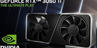 "An RTX 3060Ti cooler with the nvidia logo, product name, and text saying ""the ultimate play"""
