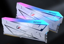 colorful igame vulcan DDR4 modules with a chunky anodised aluminium heatspreader, plastic RGB LED light bar along the top, and white PCB