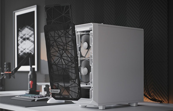 Fractal design meshify 2 compact with the front dust filter removed, illustrating the ease of the procedure. Behind it are two white 140mm fans, presumably the Dynamic X2 GP-14 that are included.
