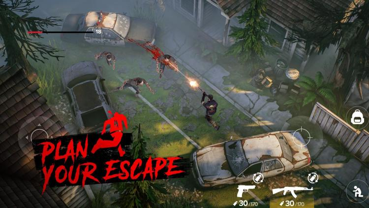 trying to escape zombies fighting with gun