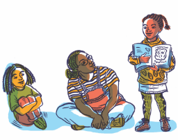 Illustration showing an adult therapy leader encouraging and listening to a child read to the group