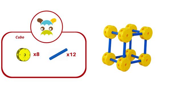 Cubo construido con 20 piezas de Broks
