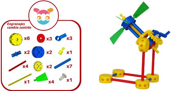 Molino con engranejes contruido con 36 piezas de Broks