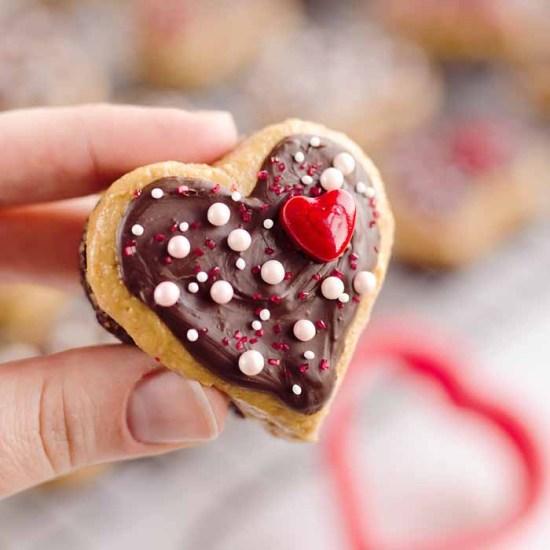 Heart shaped peanut butter buckeye bites