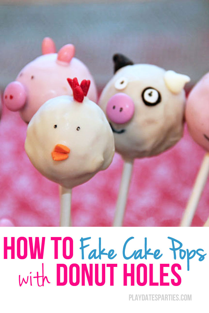 Love the look of cake pops, but don't want to spend all that time making them? Try making 'fake cake pops' using donut holes instead!