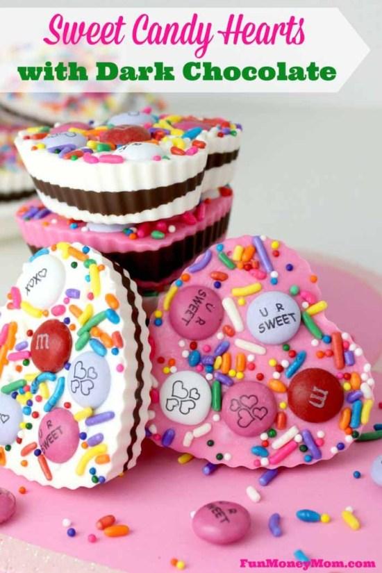 Heart Shaped Chocolates Treats: Candy Hearts with Dark Chocolate