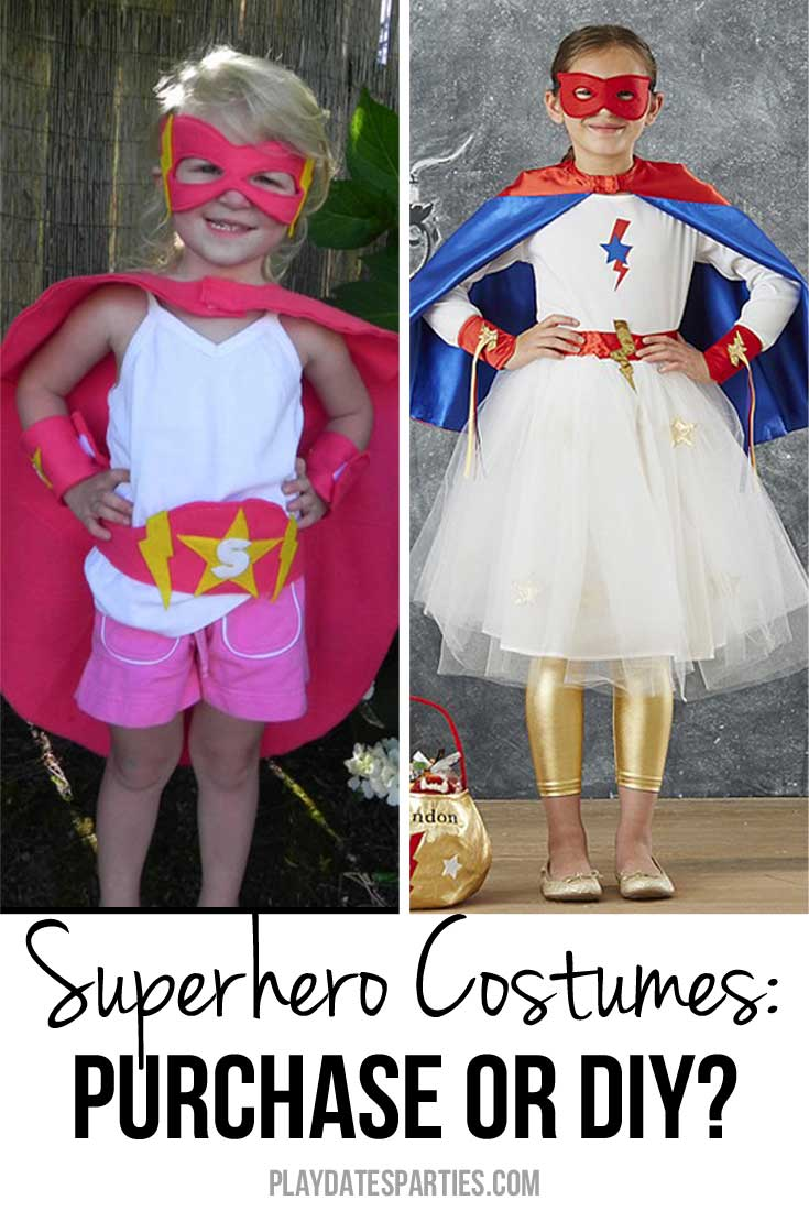 Bring out your daughter's inner superpowers, and take a look at a comparison of purchased vs DIY Superhero costumes for girls.