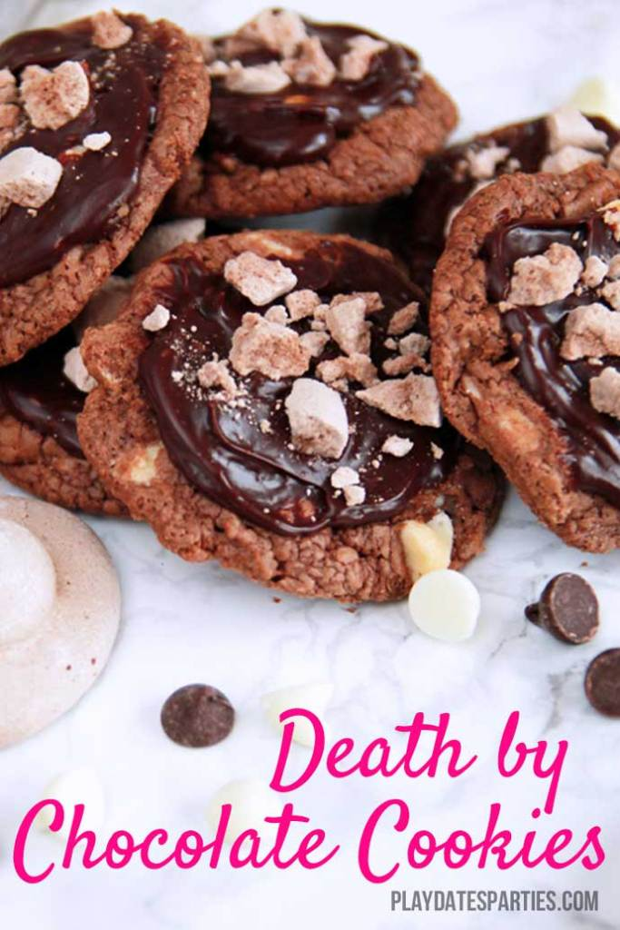 Inspired by the original Death by Chocolate cake from the Trellis in Williamsburg, VA these Death by Chocolate cookies are made with 4 layers of decadent chocolate, including a brownie-based cookie, white chocolate chips folded, ganache icing, and crunchy chocolate meringue bits to top it all off.