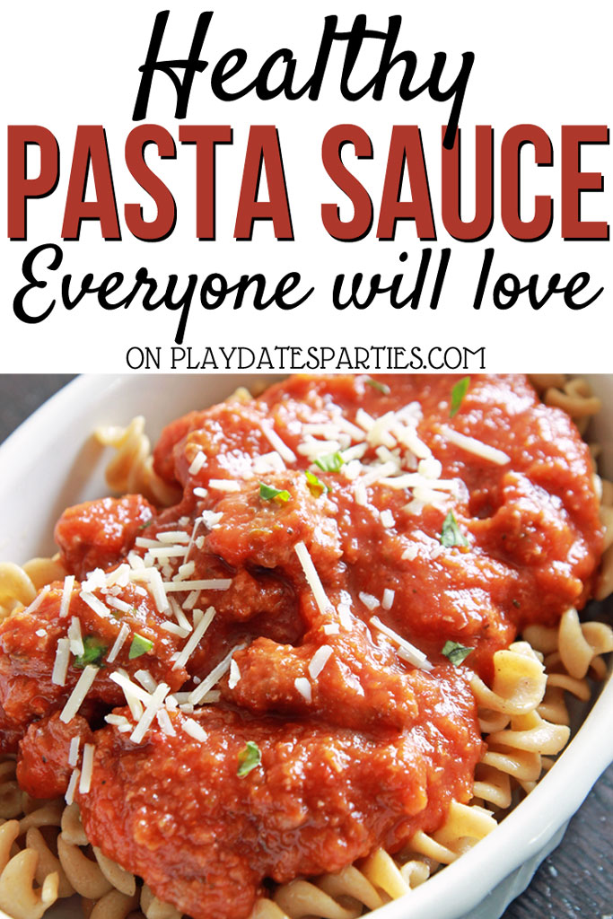A bowl of pasta with the title Healthy pasta sauce everyone will love