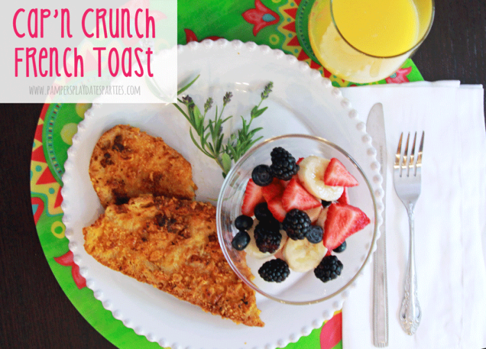 This Cap'n Crunch french toast recipe is sure to please everyone in the family with its sweet and crunchy topping.