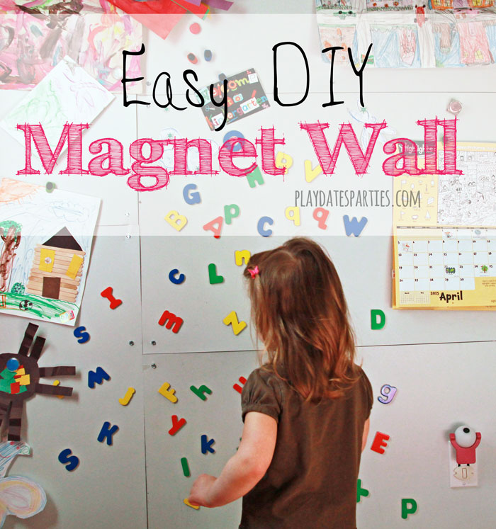 Find out how to make a magnet wallwith just a few supplies. Perfect for displaying kids' artwork and magnetic toys.