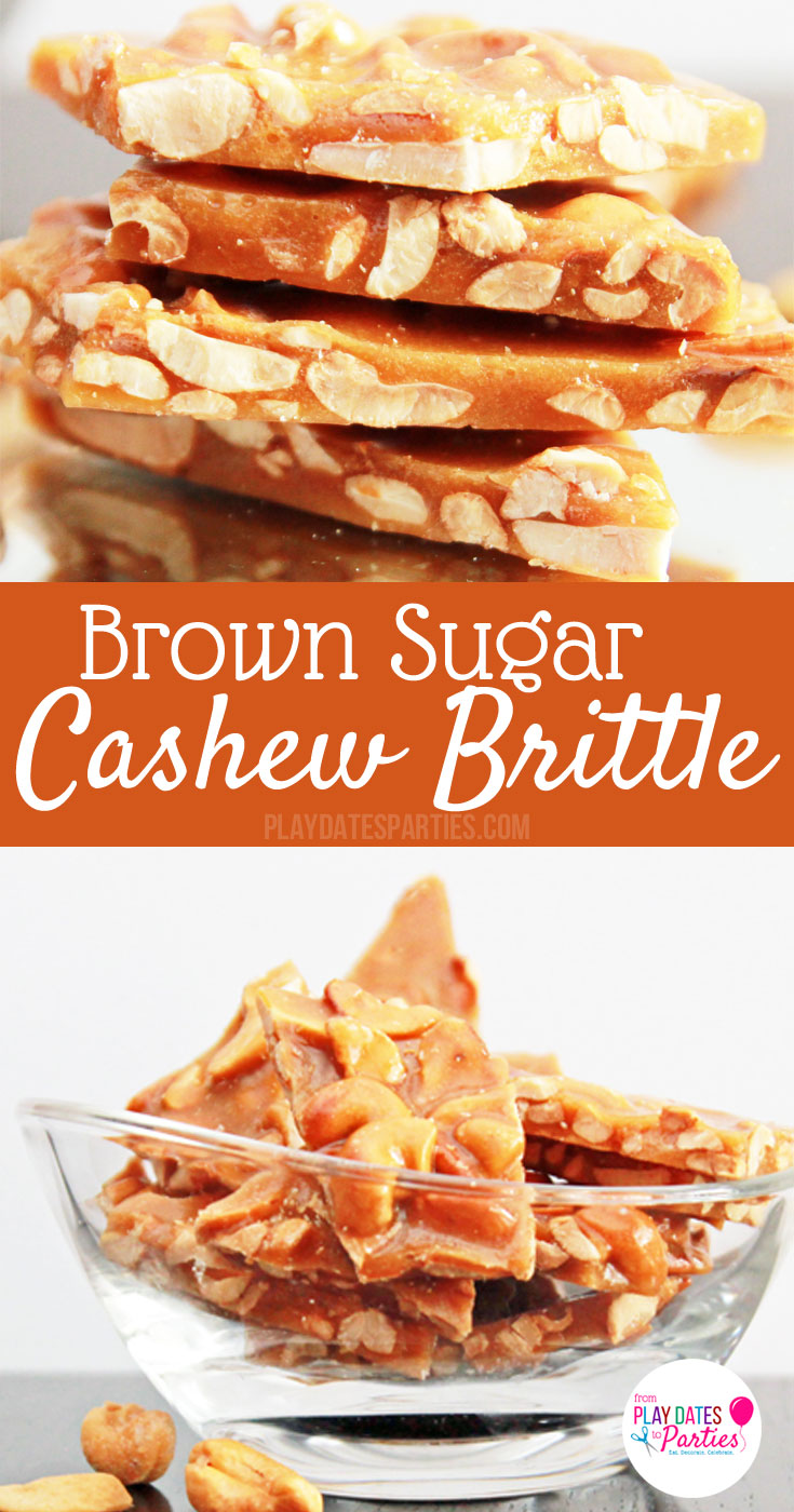 Brown Sugar Cashew Brittle: If you like peanut brittle, you will LOVE this #recipe for brown sugar cashew brittle. It is perfectly crunchy and sweet, with amazing hints of toffee and vanilla. Perfect for the #holidays or any special occasion.
