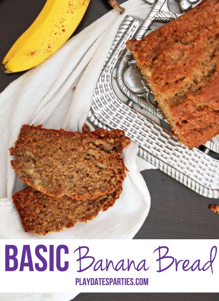 {Cooking with Kids} Basic Banana Bread - Quick breads are a fun way to introduce baking to kids. This basic banana bread recipe results in a moist, dense bread that is delicious as-is or with your favorite add-ins.