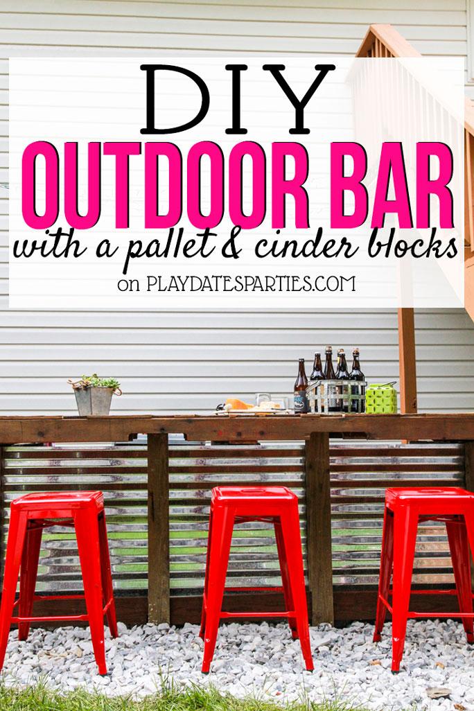diy outdoor bar with cinder blocks and