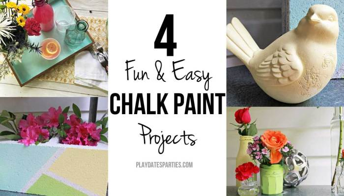 Take a look at these 4 different chalk paint projects in summery colors of blue, yellow and green, including a cinder block, ceramic figurine, glass jars, and an unfinished tray.