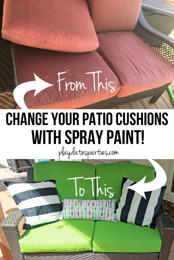 Learn all the tips and tricks to get the best results from spray painted patio cushions...and the truth about whether or not it's worth the the effort.