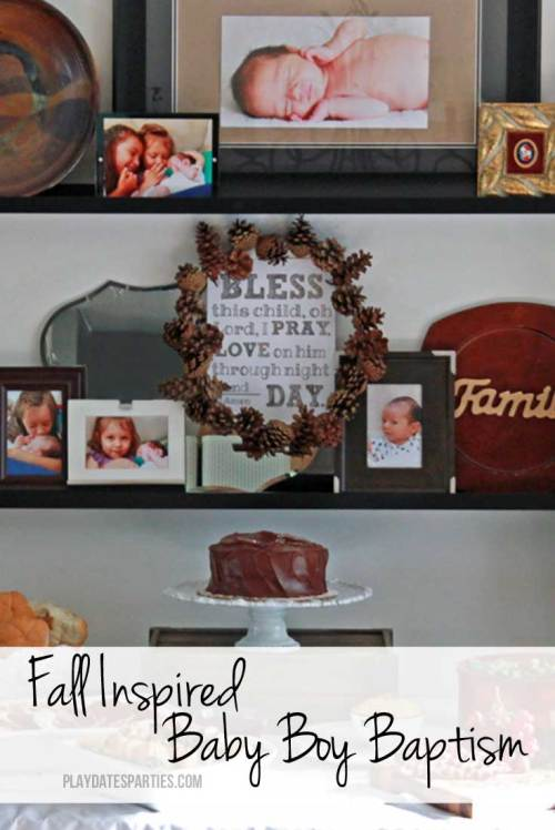Learn how to easily create a fall inspired party using items in and around your home, just like this brown and white fall inspired baptism for a baby boy.