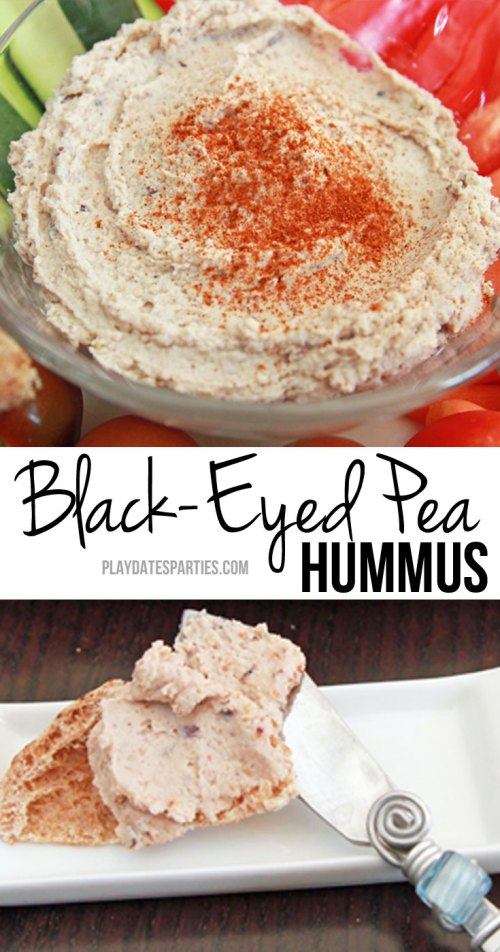 Black-Eyed Pea hummus is a delicious way to enjoy eating your lucky black-eyed peas for New Year's Day, or any time of year!
