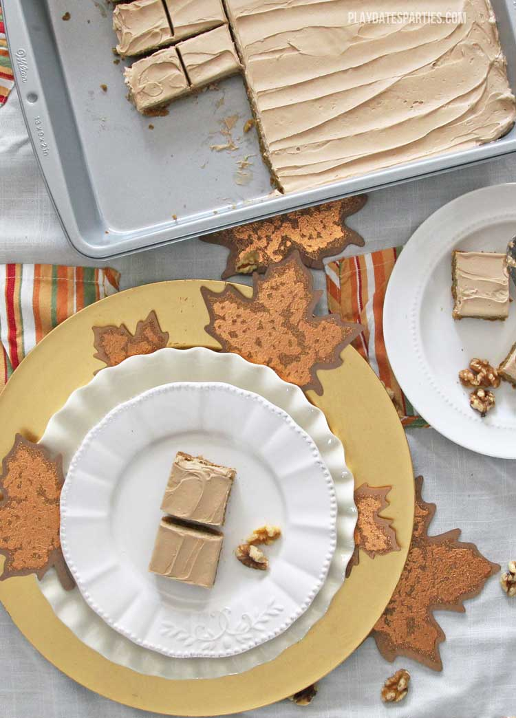 Filled with seasonal flavors, sweet potato bars with maple frosting are the perfect dessert for your fall or winter celebration.