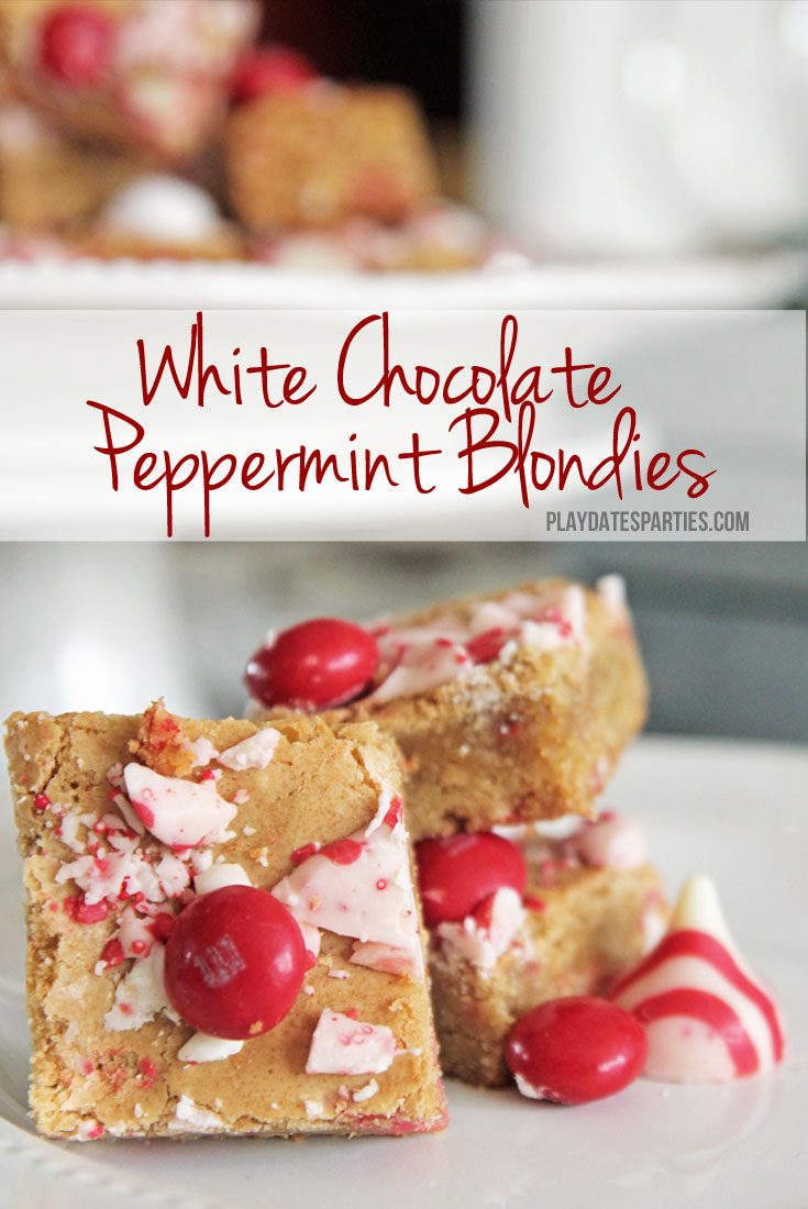 White chocolate peppermint blondies are a must-make holiday recipe, with the perfect balance of peppermint flavor and dense, chewy texture.