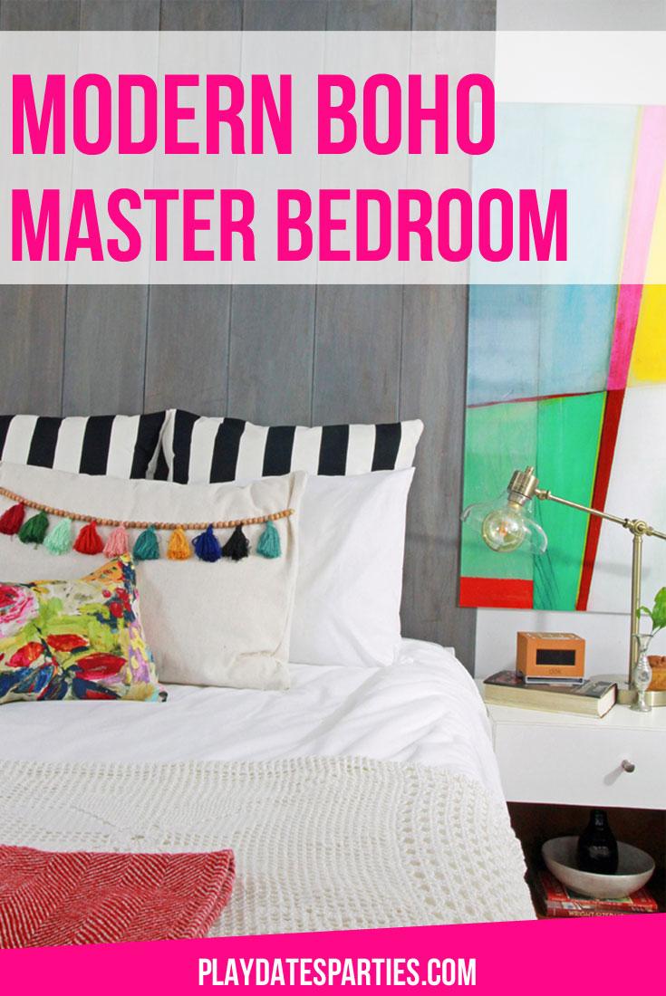 Colorful and Modern Boho Master Bedroom Reveal (6 Week Renovation)