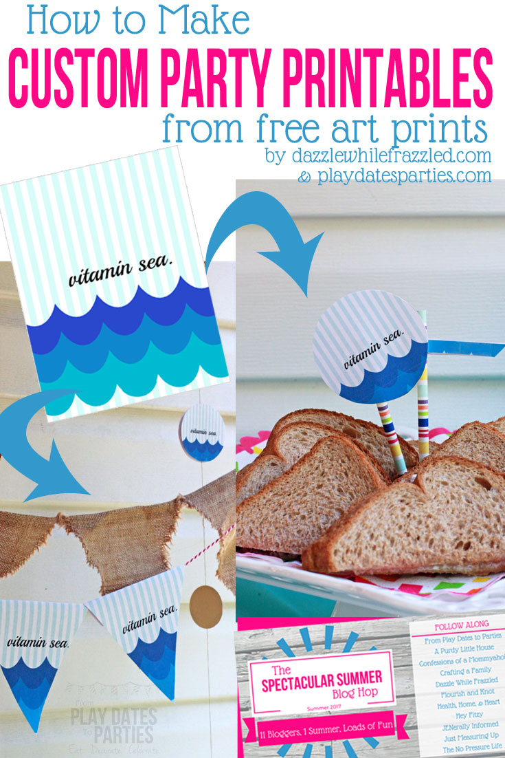 How to Make Custom Party Printables with Free Art Prints