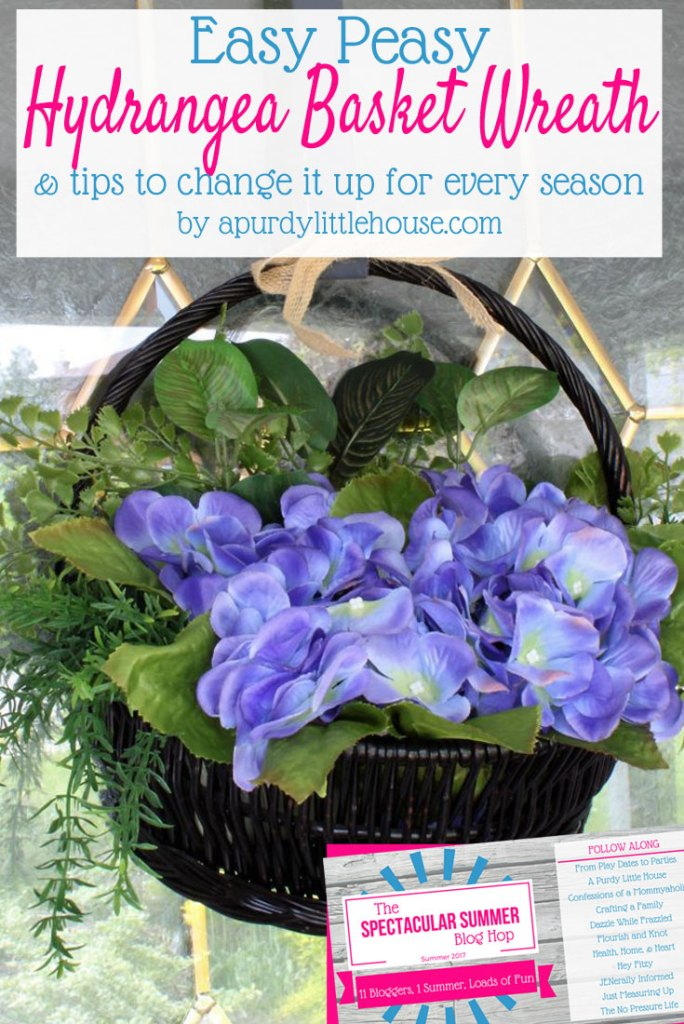 Tired of the same old wreath shape on your front door? Try a basket wreath instead! Start off with this beautiful hydrangea wreath for summer and find out how to change it up for every season!