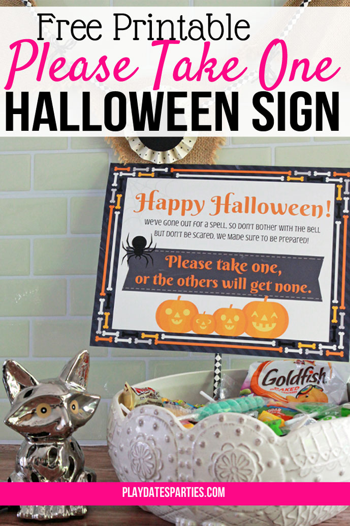 Free Printable Halloween Take One Sign (and why you need it)