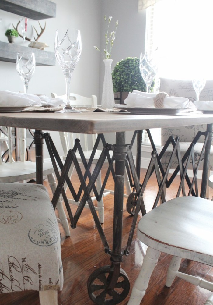 Vintage Casket Carrier Repurposed to a Dining Room Table from Repurpose and Upcycle.
