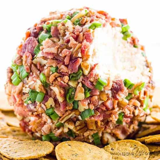 Appetizers for a Fall Party: Easy Cheeseball with Bacon and Green Onion by Wholesome Yum