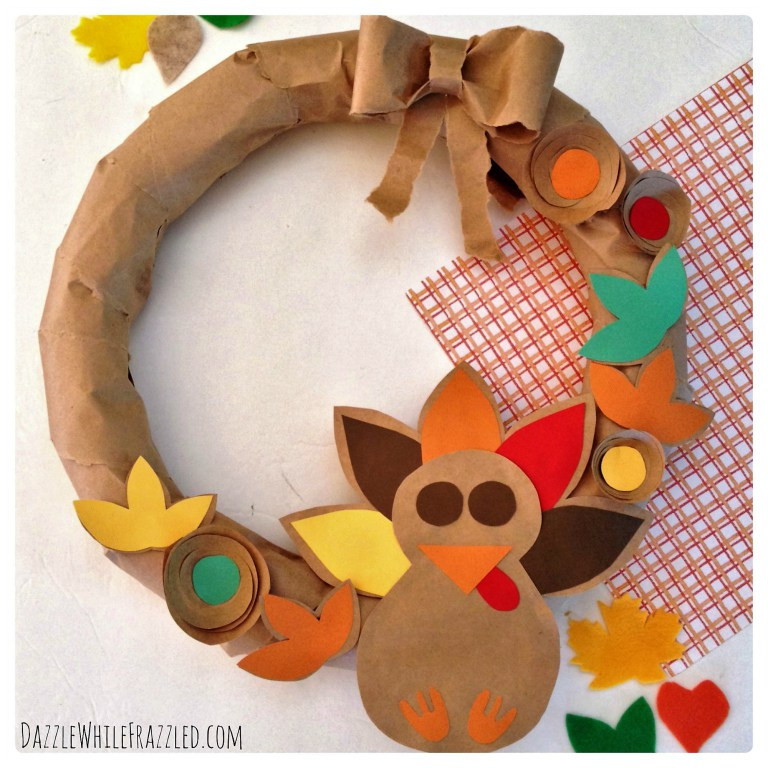Make an Easy Thanksgiving Wreath From A Paper Bag From Dazzle While Frazzled
