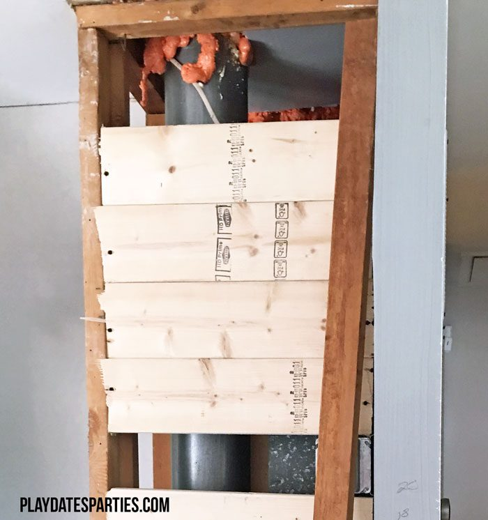 Adding behind-the-wall support for live edge wood shelves