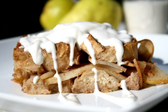 Overnight French Toast Casserole with Chai Spiced Pears from Looney For Food.