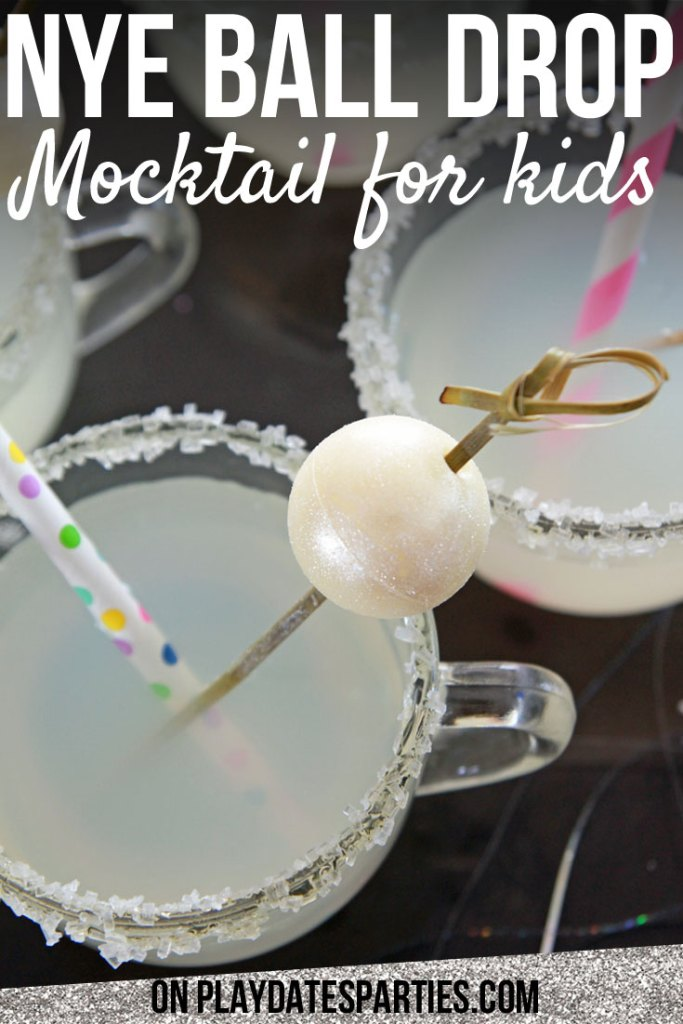 This ball drop garnish new year's eve mocktail for kids is the perfect way to add a little sparkle to your New Year's Eve celebration. It's festive, fun, and easy to pull together too! #newyear #kids #virgin #cocktails #mocktails #recipes