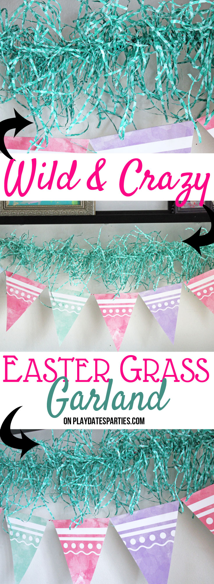 Just by using some paper Easter grass and some hot glue, you can make this easy Easter garland that adds some fun to your holiday decor. Head on over to playdatesparties.com to get the full tutorial. #Easter #craft #budget #holiday